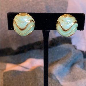 Jewelry - Vintage Green Enamel Clip On Earrings Goldtone